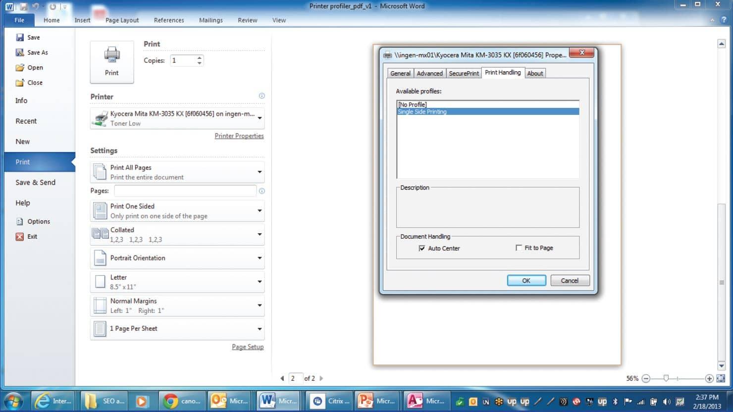 uniprint infinity setting customer printer profiles