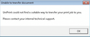 Error Unable to Transfer Document