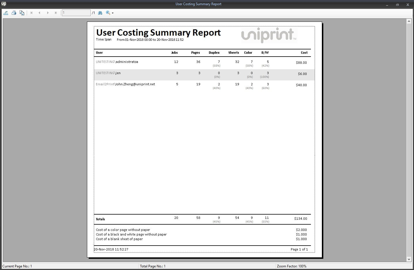 UP Print tracker tool - Print Statistics User Cost Summary Report