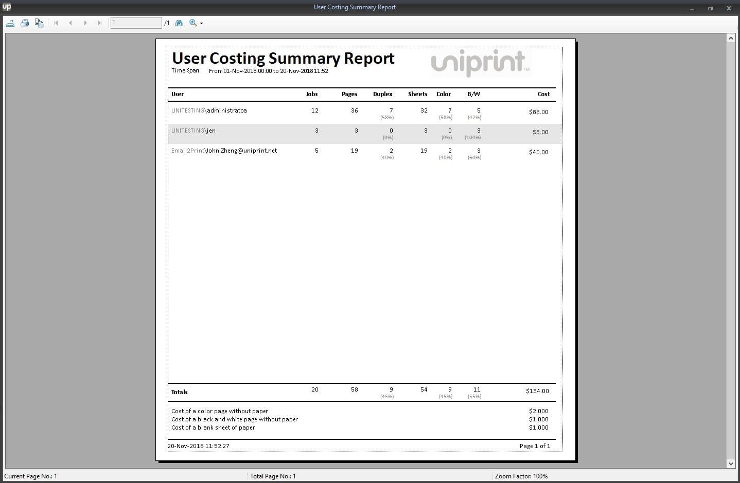 UP Print tracker tool - Print Statistics User Cost Summary Report